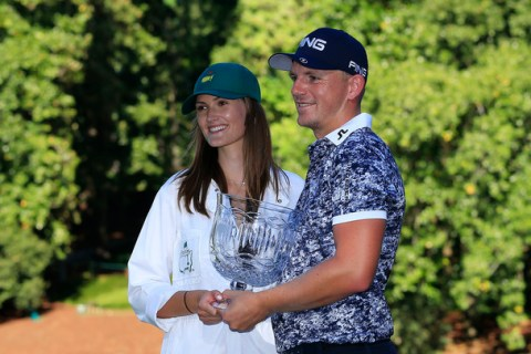 Winner Matt Wallace of England Winner Matt Wallace of England holds the Crystal Pedestal Bowl award after the Par 3 Contest for the Masters at Augusta National Golf Club, Wednesday, April 10, 2019.