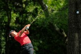Takumi Kanaya of Japan plays a stroke from the No. 2 tee during the second round of the Masters at Augusta National Golf Club, Friday, April 12, 2019.