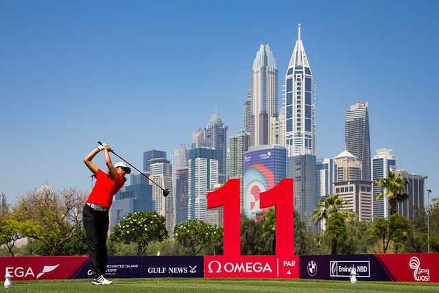 Diksha Dagar of India during the first round. Ladies European Tour 2019. Omega Dubai Ladies Classic, Emirates Golf Club, Faldo Course, Dubai, UAE. 1-3 May 2019. Diksha Dagar of India during the first round. Credit: Tristan Jones