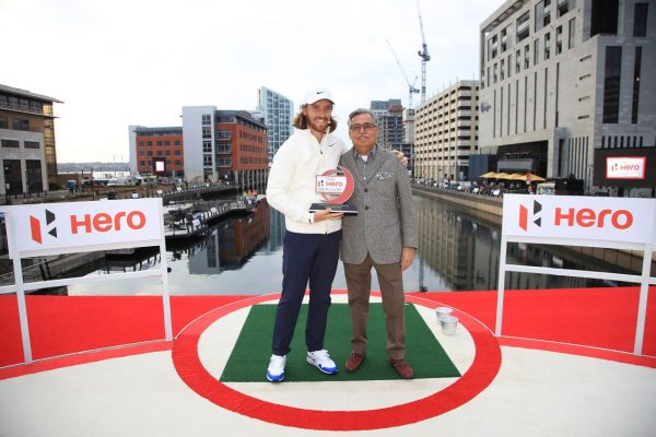 Tommy Fleetwood with Dr Pawan Munjal, the Chairman, Managing Director and Chief Executive Officer of Hero MotoCorp Ltd - Picture Credit - Getty Images