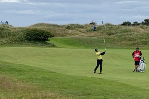 Shubhankar Sharma on the 17th fairway at the Open Championship