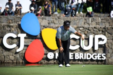 JEJU, SOUTH KOREA - OCTOBER 19: Kiradech Aphibarnrat of Thailand lines up a putt on the 18th green during the third round of the CJ Cup @Nine Bridges at the Club a Nine Bridges on October 19, 2019 in Jeju, South Korea. (Photo by Chung Sung-Jun/Getty Images)