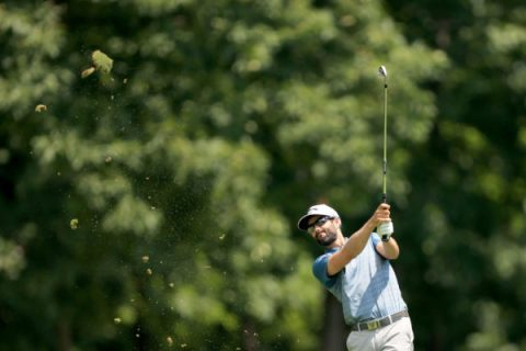 Adam Hadwin of Canada plays a shot during the first round of the Workday Charity Open on July 09, 2020 at Muirfield Village Golf Club in Dublin, Ohio. (Photo by Sam Greenwood/Getty Images)