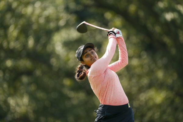 Anika Varma plays her tee shot at the seventh hole during the second round of stroke play at the 2020 U.S. Women's Amateur at Woodmont Country Club (Copyright USGA/Chris Keane)