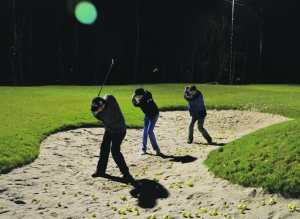Golfer im Bunker