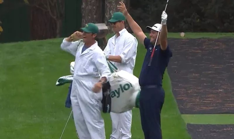 Jon Rahm celebrates an ace at the Masters after skipping ...