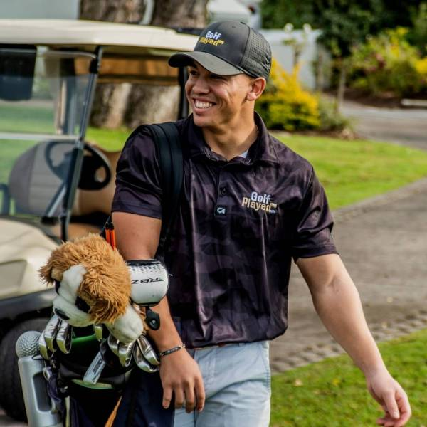 Tyler Oliver in the GolfPlayed Black Camo Golf Shirt
