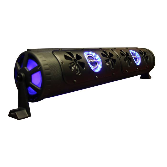 black sound bar with purple LED lights