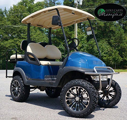 custom blue golf cart slight lift with custom rims and wheels