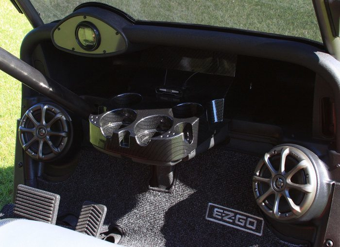 golf cart speakers mounted on front dash board