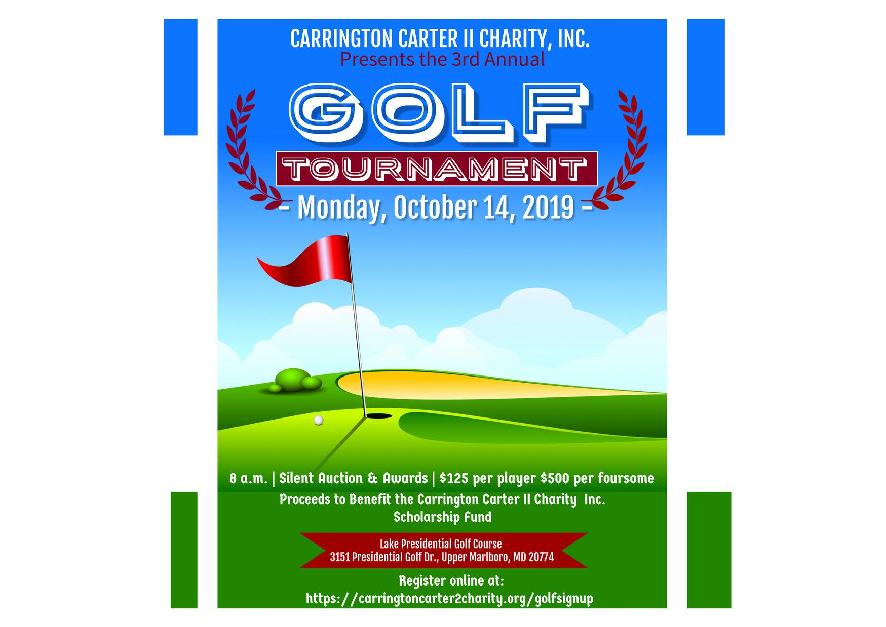 Carrington Carter II Charity, Inc. Third Annual Golf Tournament and Silent Auction