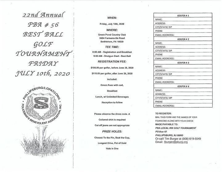 22nd Annual PBA #56 Best Ball Golf Tournament