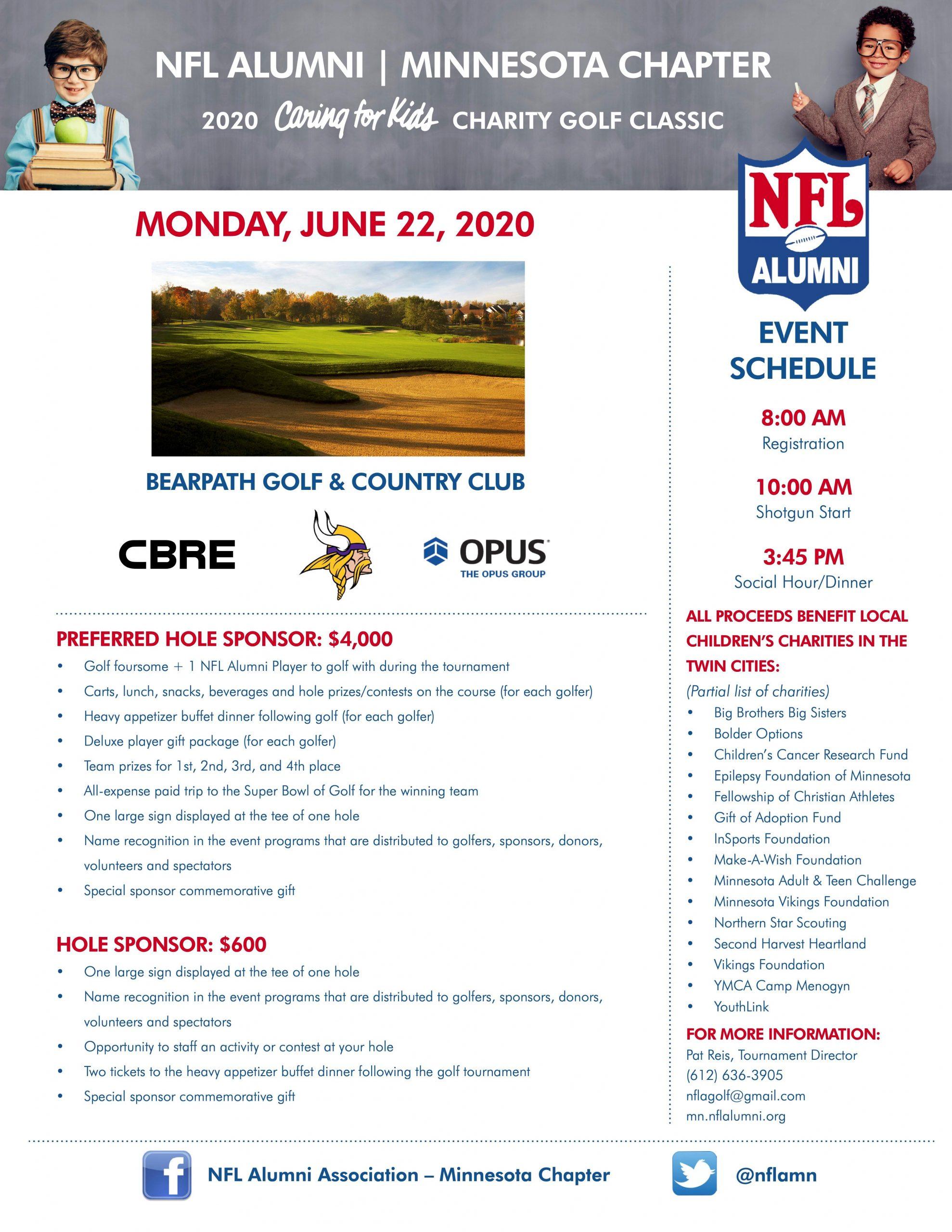2020 NFL Alumni Minnesota Chapter 'Caring for Kids' Charity Golf Classic