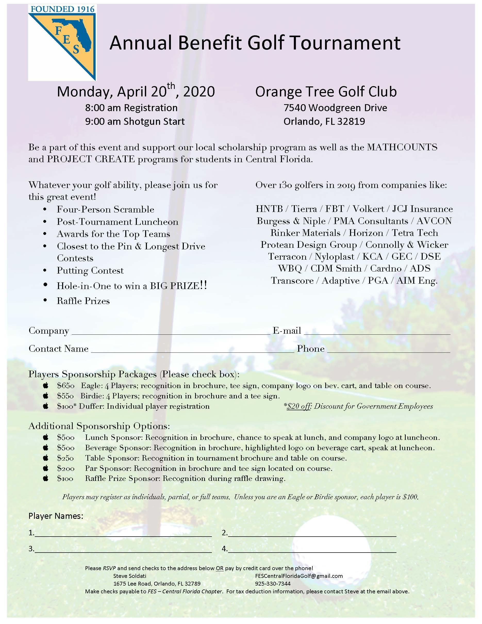 REGISTRATION OPEN!! 2020 FES Annual Golf Tournament- April 20th