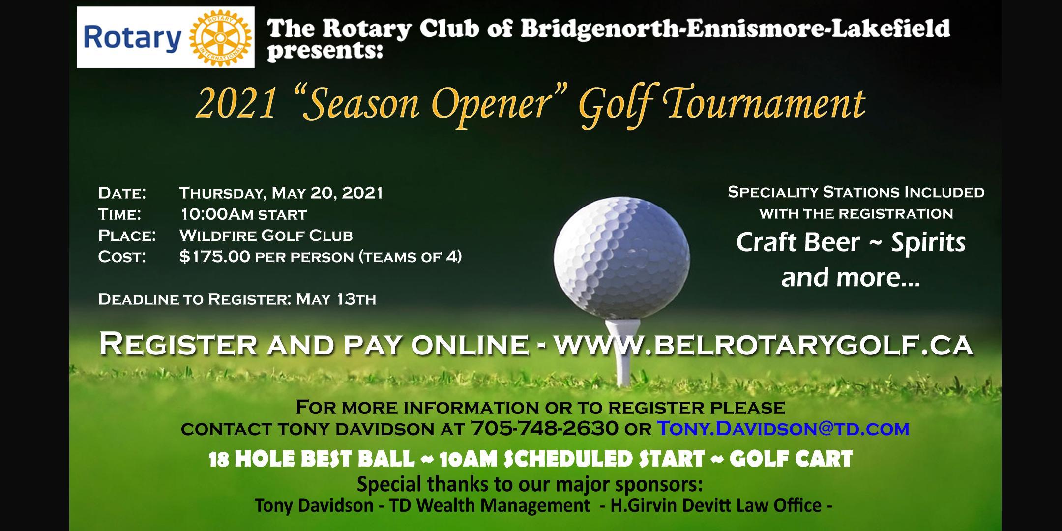 "2021 BEL Rotary ""Season Opener"" Golf Tournament"