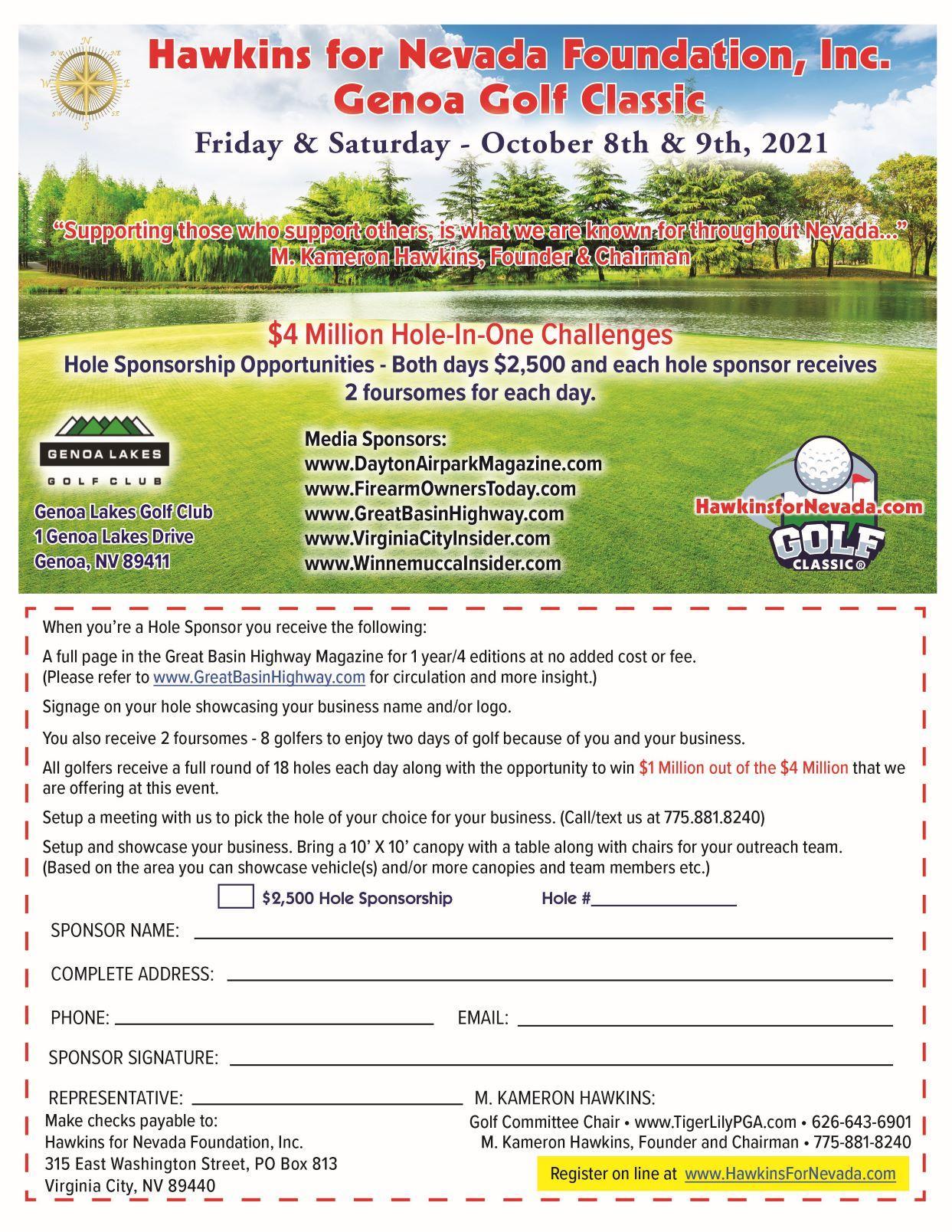 Genoa Golf Classic October 8th & 9th, 2021