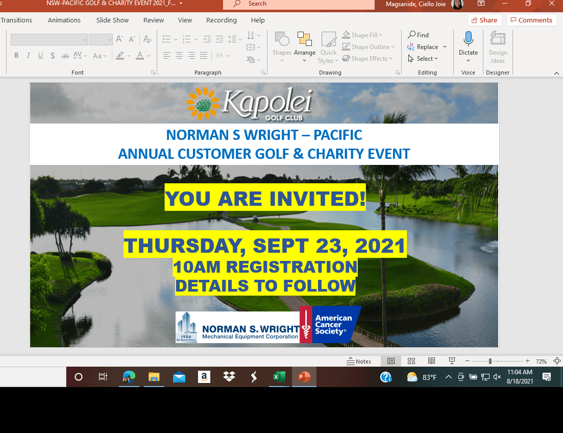 Norman S Wright Annual Customer Golf & Charity Event