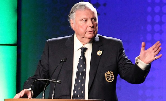 Peter Alliss at the 2012 World Golf Hall of Fame induction ceremony.
