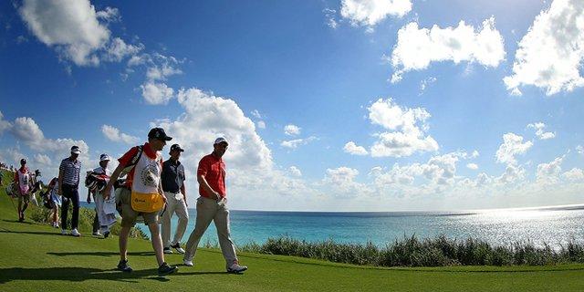 Padraig Harrington walks up the 16th hole during the PGA Grand Slam of Golf at Port Royal Golf Course in Southampton, Bermuda.