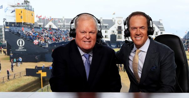 CARNOUSTIE, SCOTLAND - JULY 20: NBC commenators Johnny Miller and Dan Hicks appear on set during the second round of the 147th Open Championship at Carnoustie Golf Club on July 20, 2018 in Carnoustie, Scotland. (Photo by Andrew Redington/Getty Images)