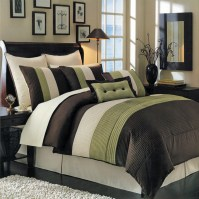 Luxury Stripe Bedding Green and Brown Queen Size 8 Piece ...