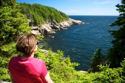 Linda taking in the view on Cape Breton