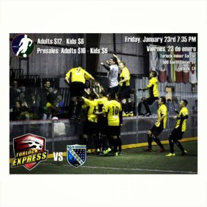 Arena soccer: San Diego at Turlock on Jan 23rd