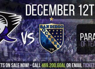 MASL South: San Diego Sockers at Dallas Sidekicks Dec 12th 7pm CT
