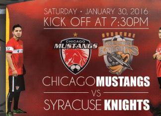 Syracuse Silver Knights at Chicago Mustangs Jan 30th, 2016 at 7:35pm watch live arena soccer on Roku