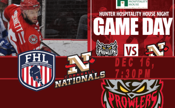 FHL Game: Cornwall Nationals at Port Huron Prowlers 12/16/2016 7:30 PM