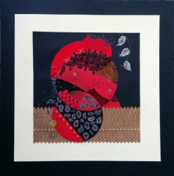 "© Golnaran, #golnaran, ""Yalda 1394"", fabric art, Collage art, mixed media, textile, sewing, 50x50 cm, 2015."