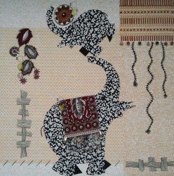 "© Golnaran, #golnaran, ""The elephants"", fabric art, Collage art, textile, sewing, 30×30 cm, 2013."