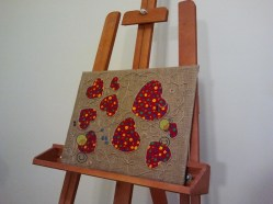 "© Golnaran, #golnaran, ""Linkage"", fabric art, Textile collage, 35×45 cm, 2013"