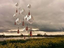 """Dream world, violins 1""; Original artwork/mixed media/installation by Golnaran, the musical cube maker 😉"
