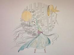 """""""A true musical story"""", © Golnaran, #golnaran, original artwork, water color and color pencil, 50x35 cm, 2015."""