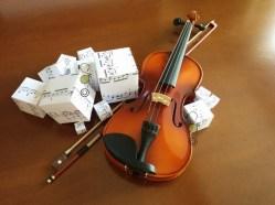 """Cubic Music 3"", Original artwork, mixed media, violin, © Golnaran"
