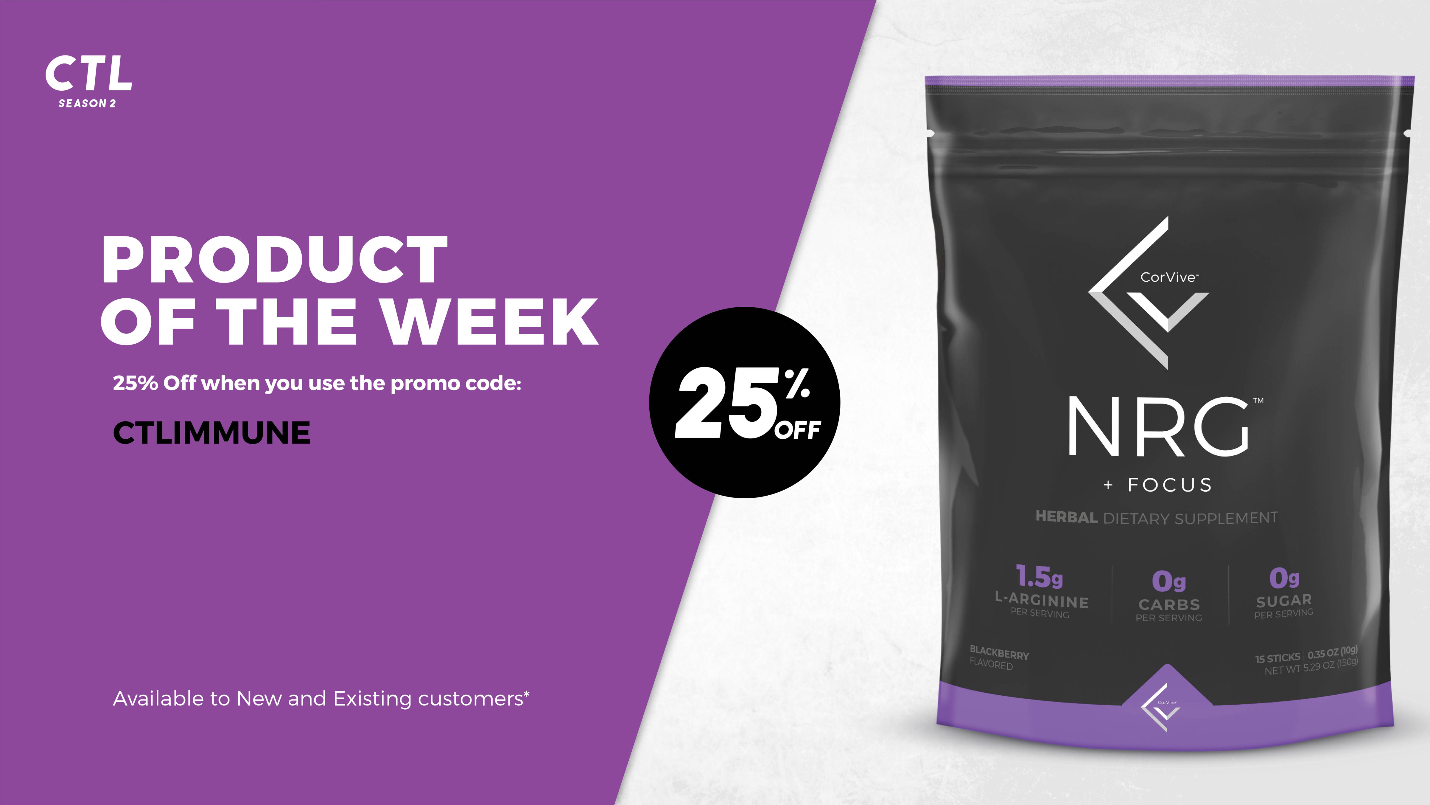 CorVive product of the week NRG + focus