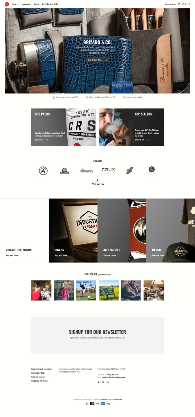 industrial cigars e-commerce website layout