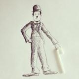 Charlie Chaplin with Straw © Cintascotch