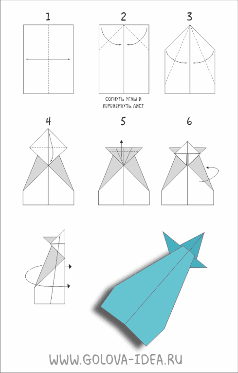 инструкция как сложить самолетик из бумаги
