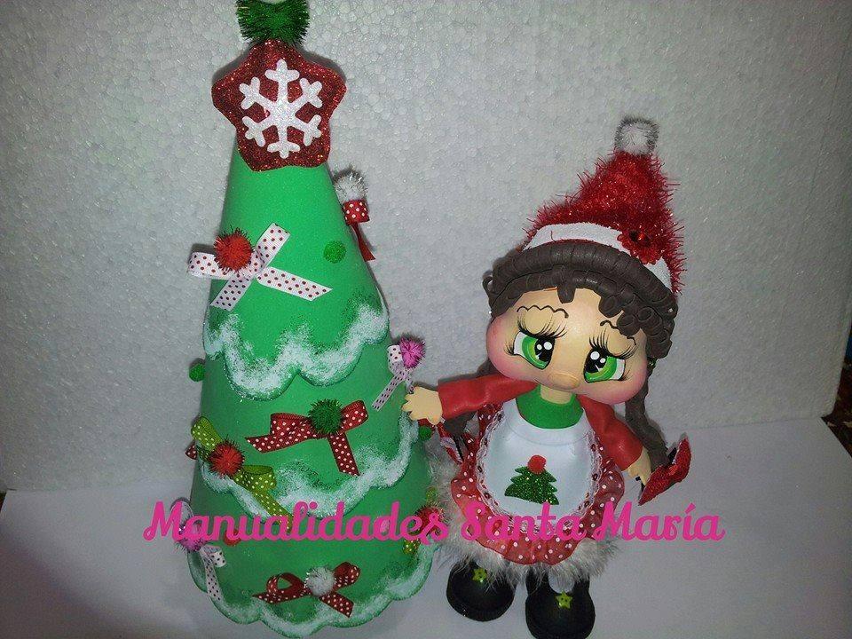 fofucha de navidad con arbol de navidad Todo en Goma Eva