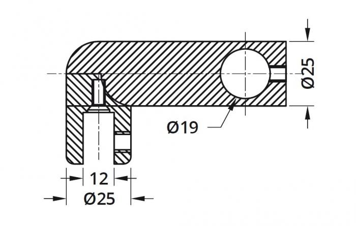 Conector 90° bara stabilizare cabina dus teava/sticla