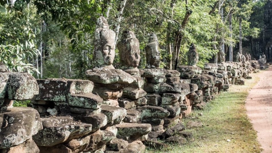 Bridge to Victory Gate Angkor Thom, Cambodia