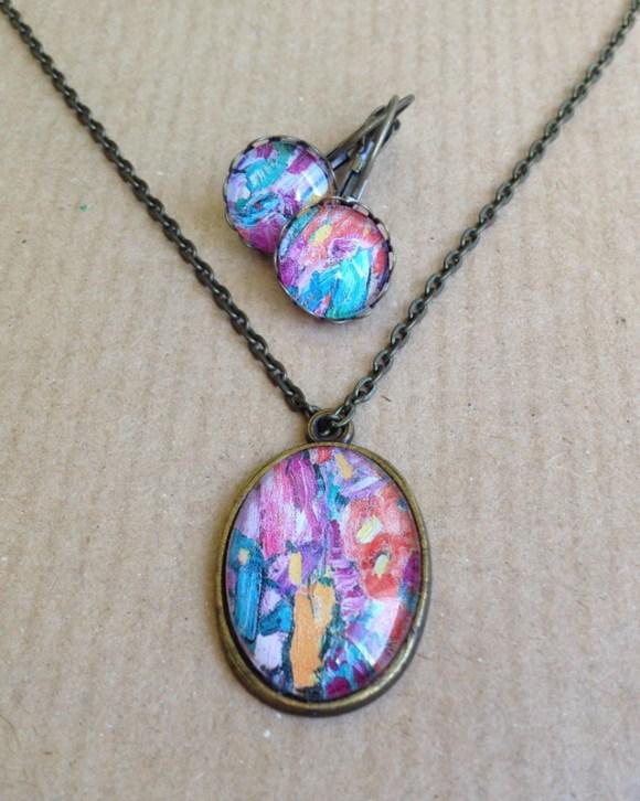 színes Klimt ékszer szett