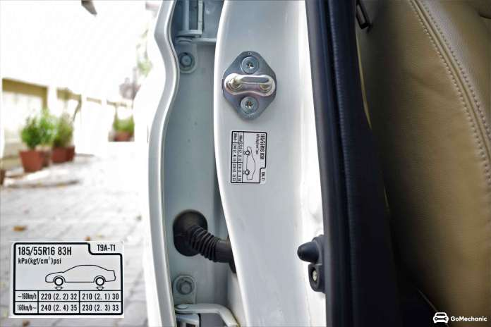 car tyre pressure information on door