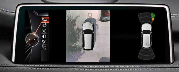 The top view or the 360° view in a 360° parking camera