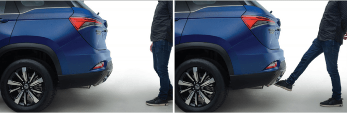 MG Hector Plus   powered tailgate opening