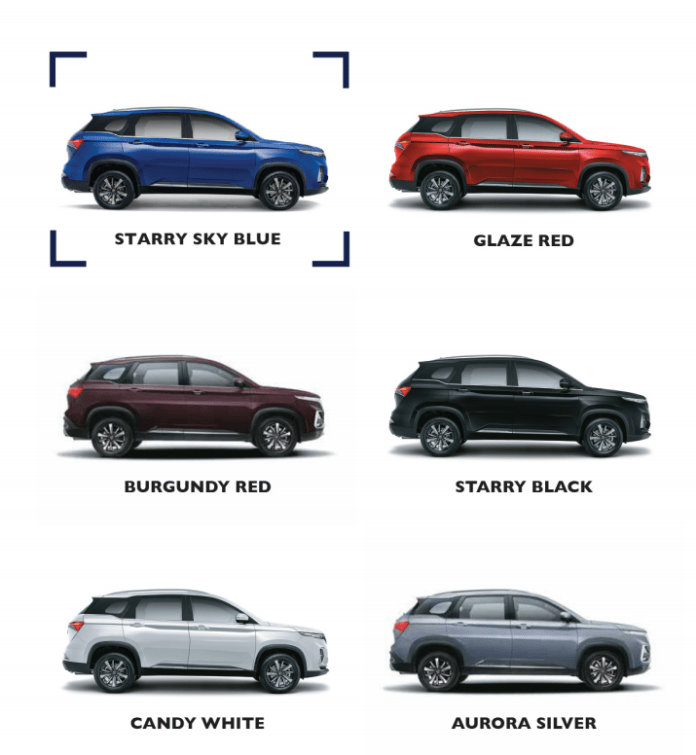 MG Hector Plus Colour options