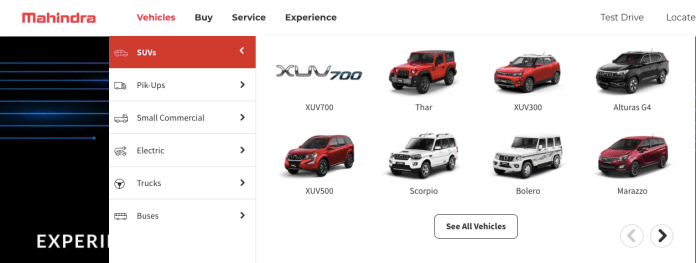 XUV700 listed on Official website