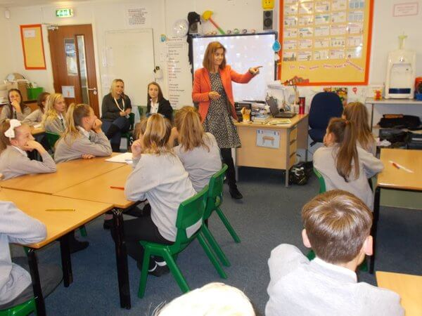 Jo Cox visiting Year 6 recently during their EU referendum dabate